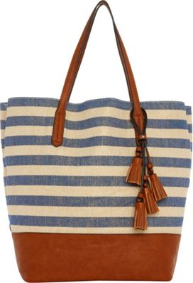 Splendid Key West Tote Metallic Stripe Blue - Splendid Designer Handbags