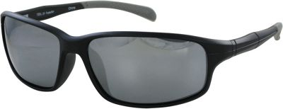 CB Sport Matte Plastic Wrap Sunglasses Matte Black with Gray Tips and Silver Flash Mirror - CB Sport Sunglasses