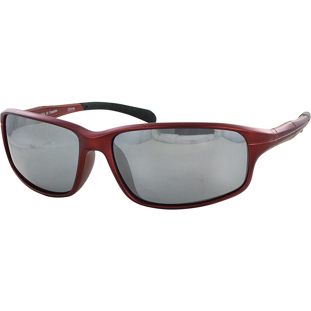 CB Sport Matte Plastic Wrap Sunglasses Matte Red with Gray Tips and Silver Flash Mirror L - CB Sport Sunglasses
