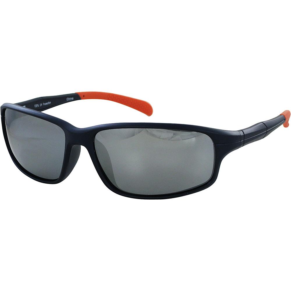 CB Sport Matte Plastic Wrap Sunglasses Matte Navy with Orange Tips and Silver Flash Mirro - CB Sport Sunglasses