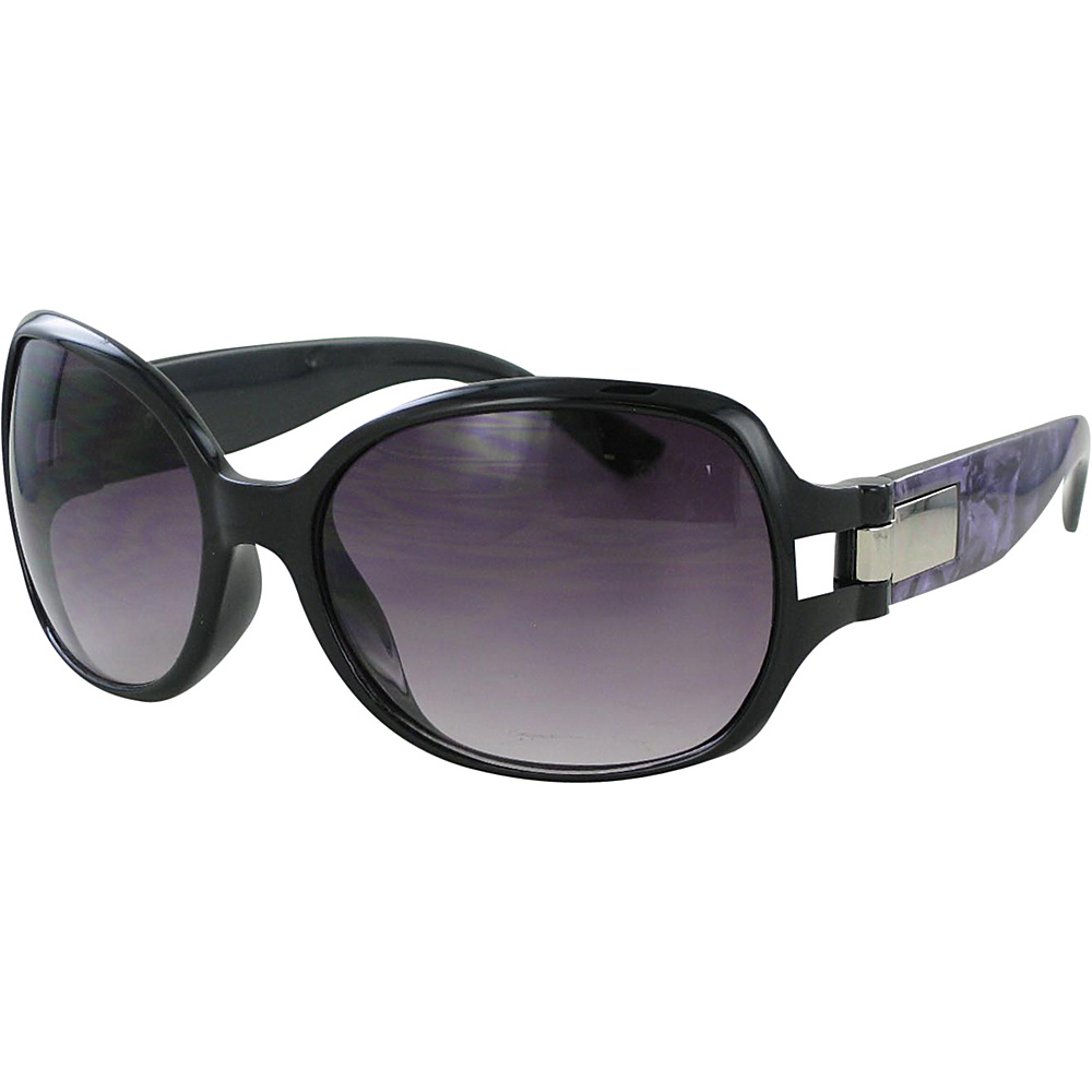 Bob Mackie Sunglasses Oversized Soft Rectangular Sunglasses with Print Detail Black and Purple with Silver - Bob Mackie Sunglasses Sunglasses