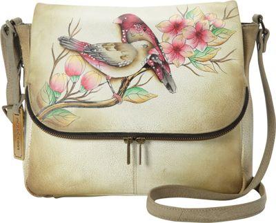 Anuschka Hand Painted Zip Around Organizer Crossbody Summer Tryst - Anuschka Leather Handbags
