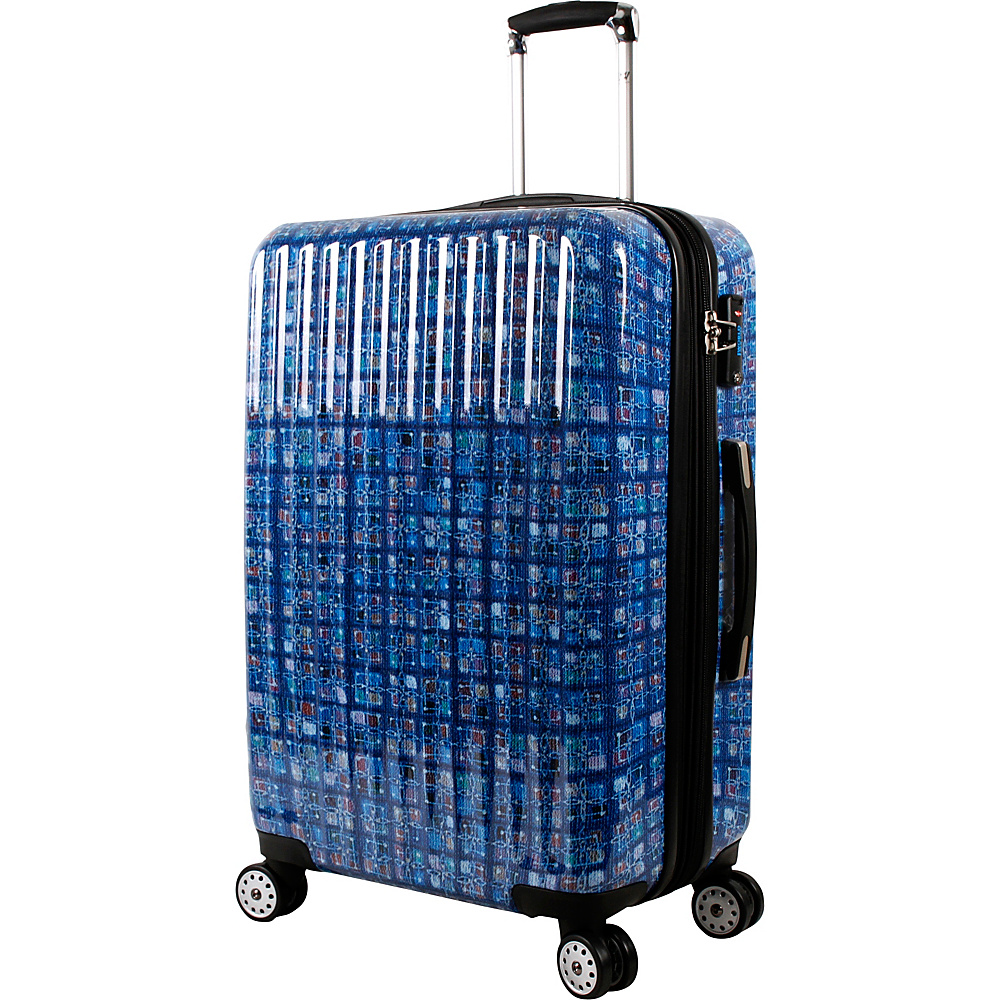 J World New York Titan 24 inch Polycarbonate Art Luggage Logics Blue - J World New York Hardside Checked - Luggage, Hardside Checked