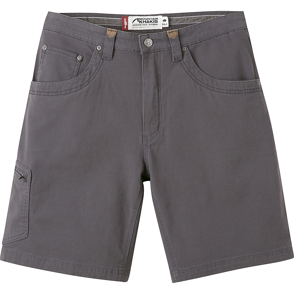 Mountain Khakis Camber 107 Shorts 42 - 11in - Slate - 30W 11in - Mountain Khakis Mens Apparel - Apparel & Footwear, Men's Apparel