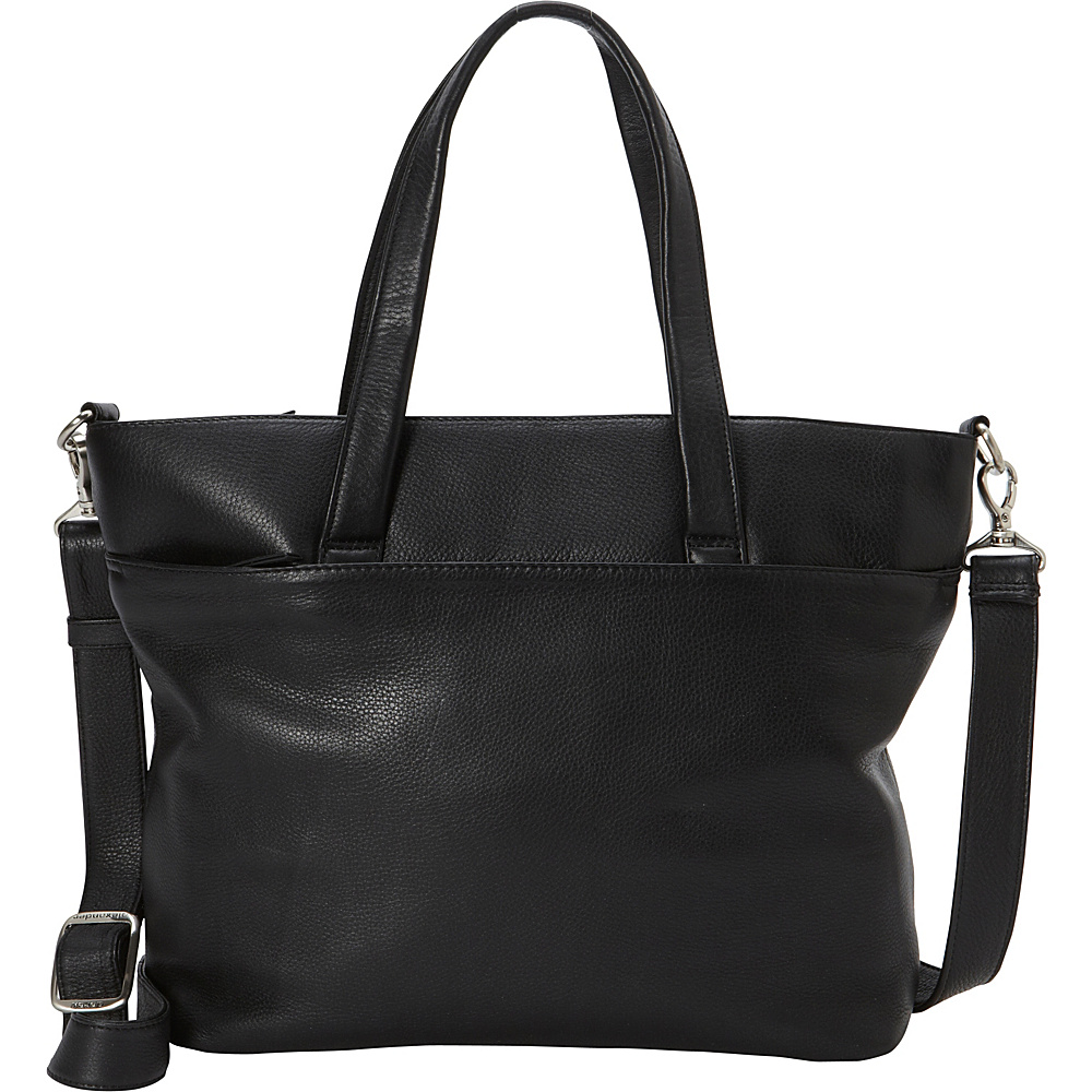 Derek Alexander EW Tote Tablet Friendly Two Compartment Black - Derek Alexander Leather Handbags - Handbags, Leather Handbags