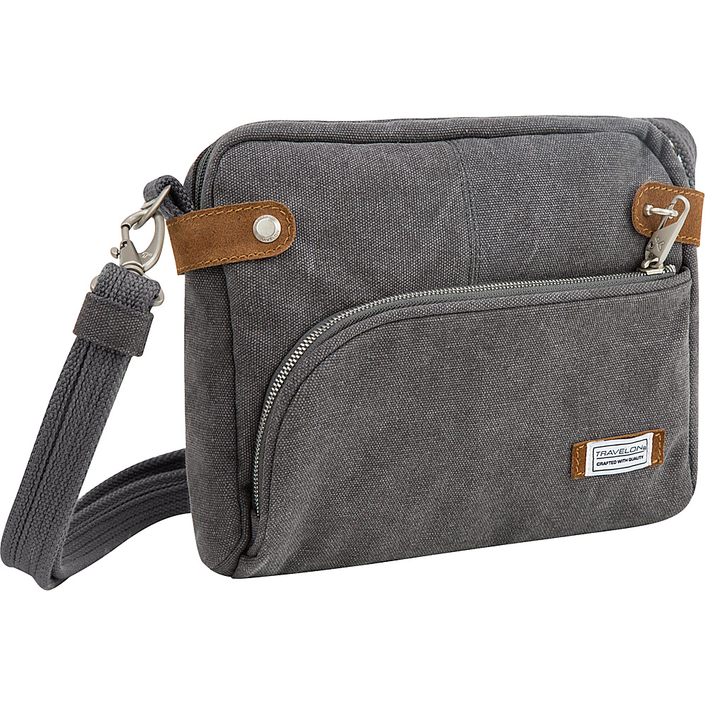 Travelon Anti-Theft Heritage Small Crossbody Bag Pewter - Travelon Fabric Handbags - Handbags, Fabric Handbags