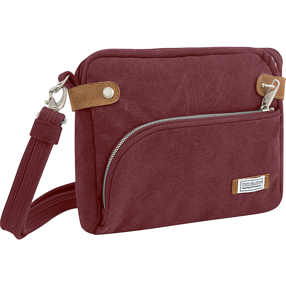 Travelon Anti-Theft Heritage Small Crossbody Bag Wine - Travelon Fabric Handbags - Handbags, Fabric Handbags