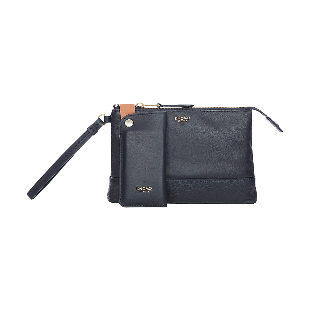 KNOMO London Bond Charging Leather Power Wristlet Navy KNOMO London Leather Handbags