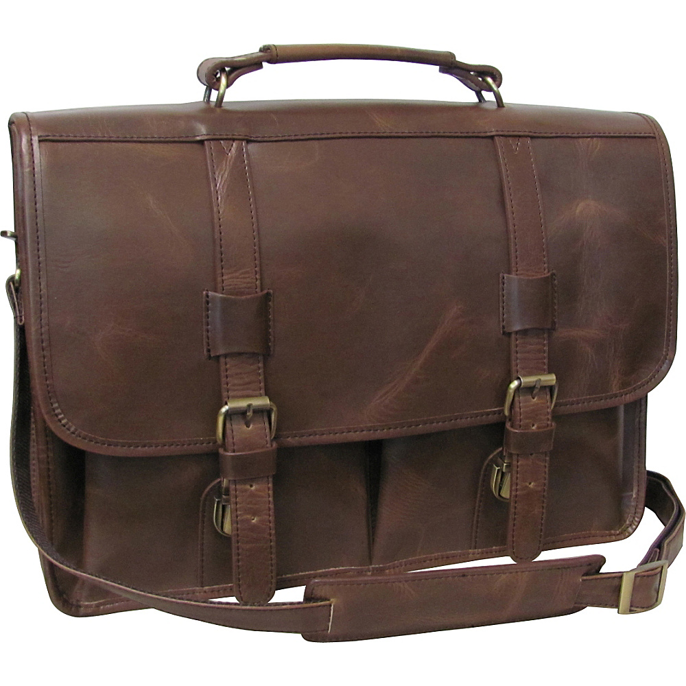 AmeriLeather Heritage Distressed Brown Laptop Briefcase Distressed Brown 3 AmeriLeather Non Wheeled Business Cases
