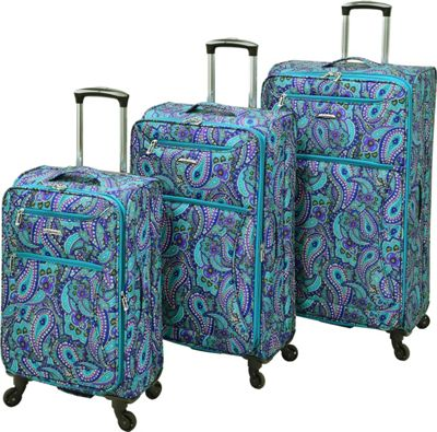 Leisure Luggage Vector 3 Piece Set Teal Paisley - Leisure Luggage Luggage Sets