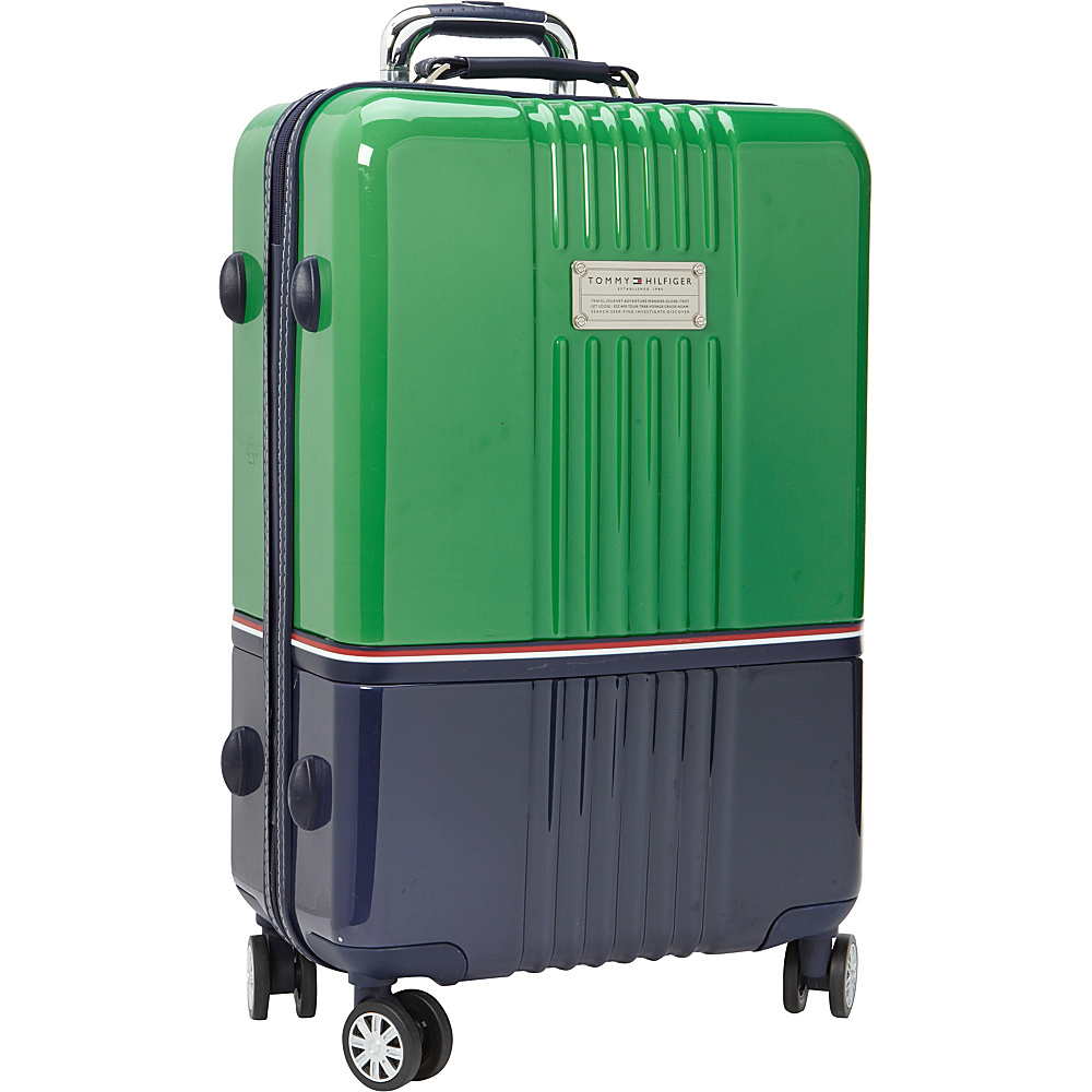 Tommy Hilfiger Luggage Duo Chrome 24 Hardside Upright Spinner Green Navy Tommy Hilfiger Luggage Softside Checked