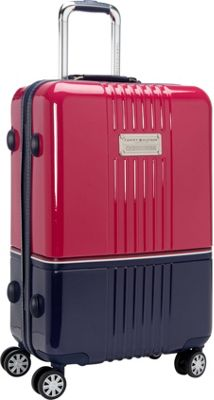 Tommy Hilfiger Luggage Duo-Chrome 24 Hardside Upright Spinner Pink/Navy - Tommy Hilfiger Luggage Softside Checked