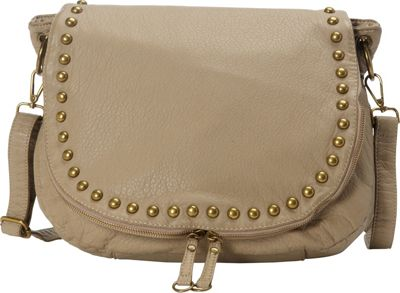 nu G Studded Washed Cross Body Bag Taupe - nu G Manmade Handbags