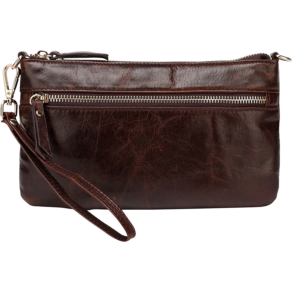 Vicenzo Leather Maci Distressed Leather Crossbody Clutch Dark Brown Vicenzo Leather Leather Handbags
