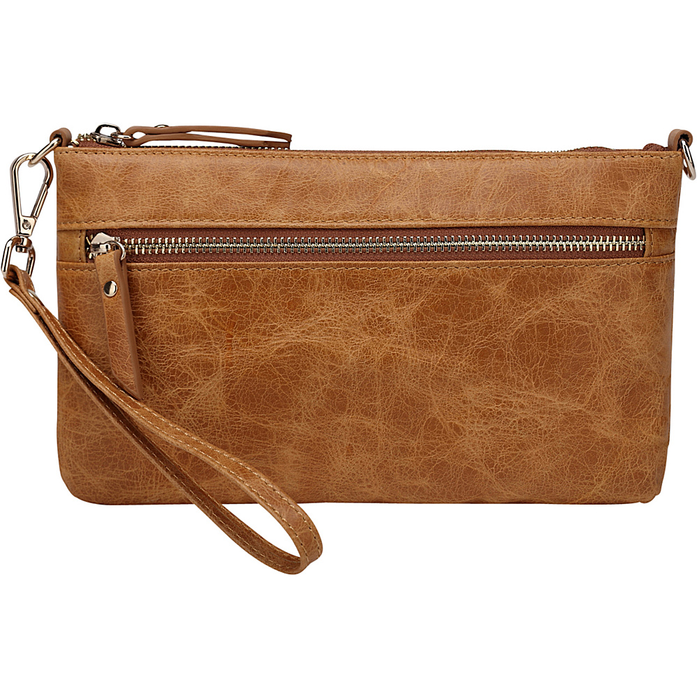 Vicenzo Leather Maci Distressed Leather Crossbody Clutch Brown Vicenzo Leather Leather Handbags