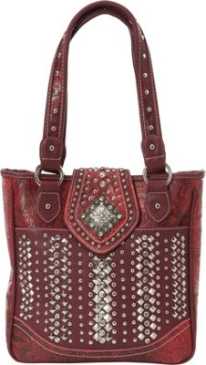 Montana West Bling Bling Handgun Tote Red - Montana West Manmade Handbags