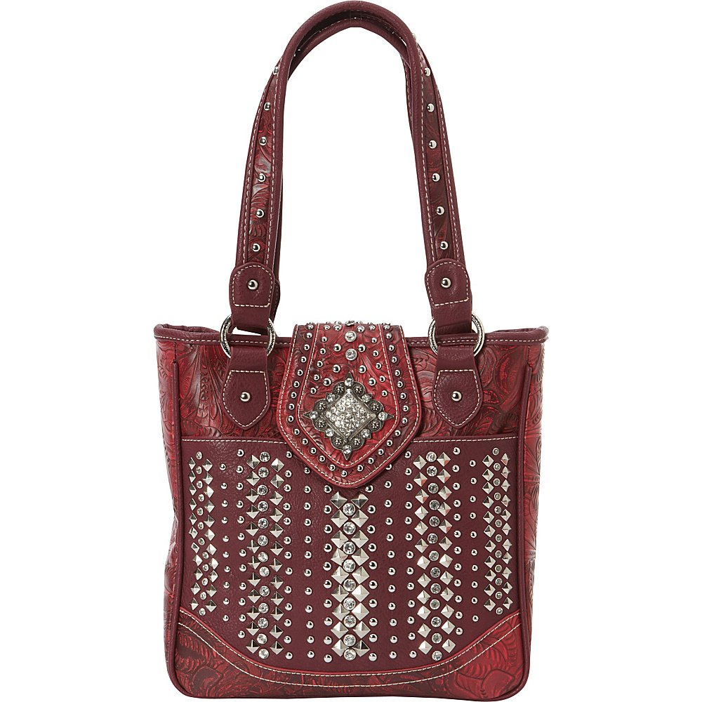Montana West Bling Bling Handgun Tote Red Montana West Manmade Handbags