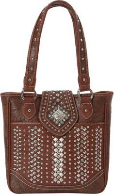 Montana West Bling Bling Handgun Tote Brown - Montana West Manmade Handbags