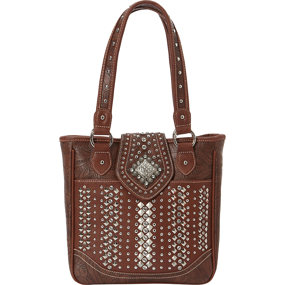 Montana West Bling Bling Handgun Tote Brown Montana West Manmade Handbags