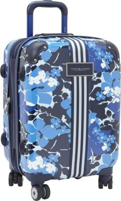 Tommy Hilfiger Luggage Floral 21 Carry-On Exp. Hardside Spinner Blue - Tommy Hilfiger Luggage Hardside Carry-On