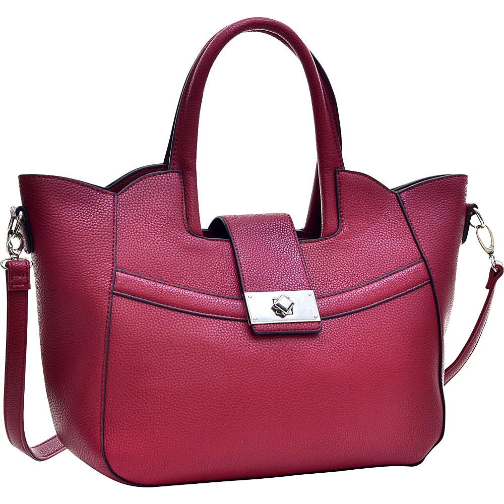 Dasein Fold-Over Winged Satchel with Shoulder Strap Burgundy Red - Dasein Manmade Handbags - Handbags, Manmade Handbags