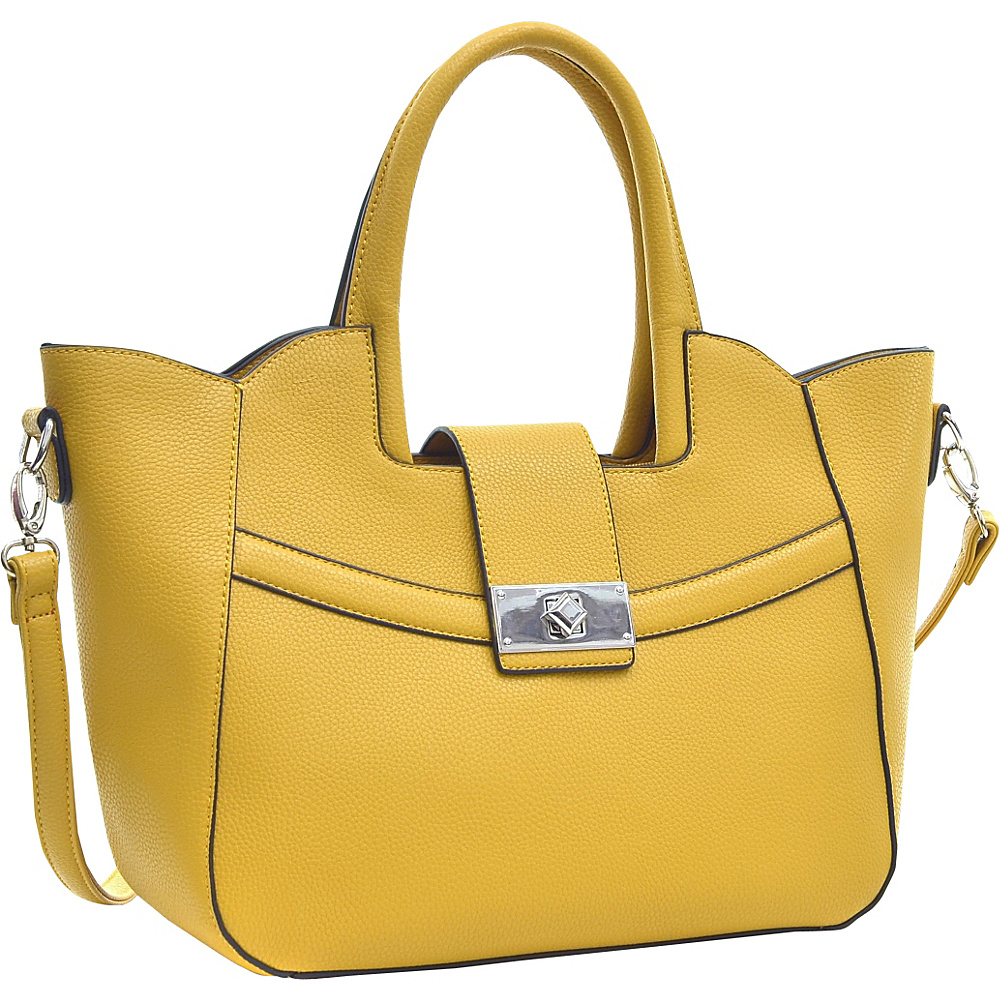 Dasein Fold-Over Winged Satchel with Shoulder Strap Yellow - Dasein Manmade Handbags - Handbags, Manmade Handbags