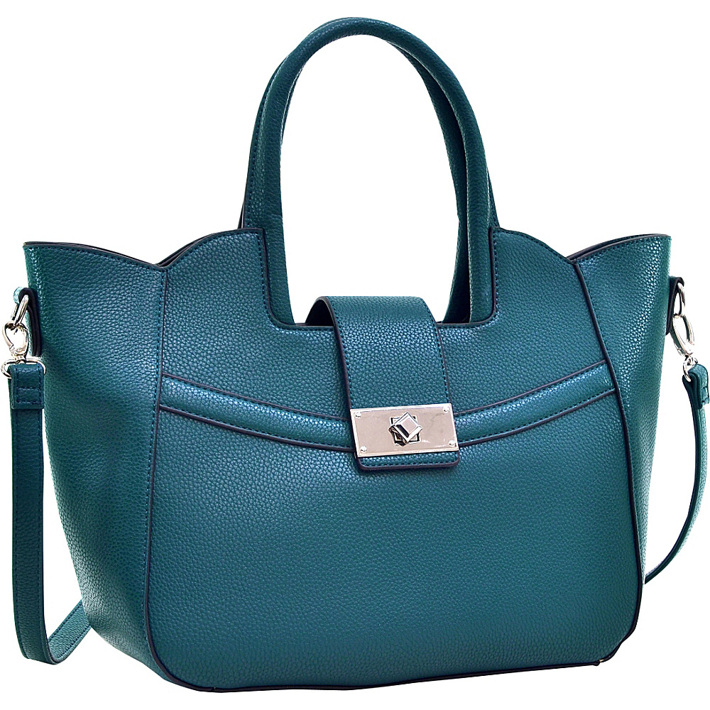 Dasein Fold-Over Winged Satchel with Shoulder Strap Green - Dasein Manmade Handbags - Handbags, Manmade Handbags