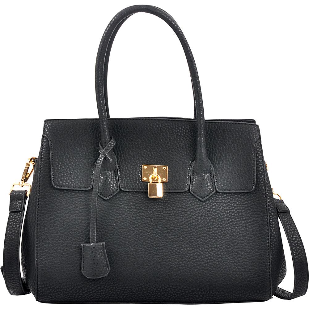 Dasein Kiss Lock Compartment Padlock Satchel with Shoulder Strap Black - Dasein Manmade Handbags - Handbags, Manmade Handbags
