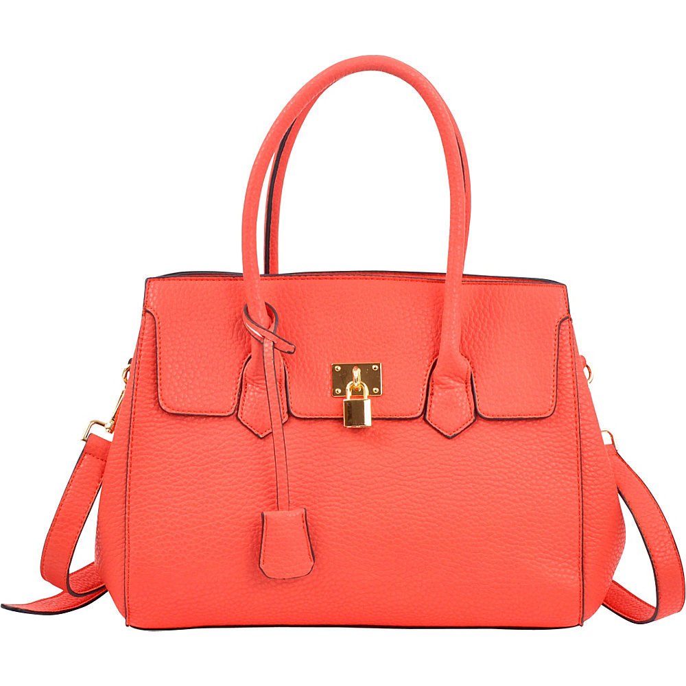 Dasein Kiss Lock Compartment Padlock Satchel with Shoulder Strap Red - Dasein Manmade Handbags - Handbags, Manmade Handbags