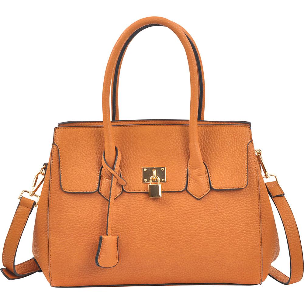 Dasein Kiss Lock Compartment Padlock Satchel with Shoulder Strap Tan - Dasein Manmade Handbags - Handbags, Manmade Handbags