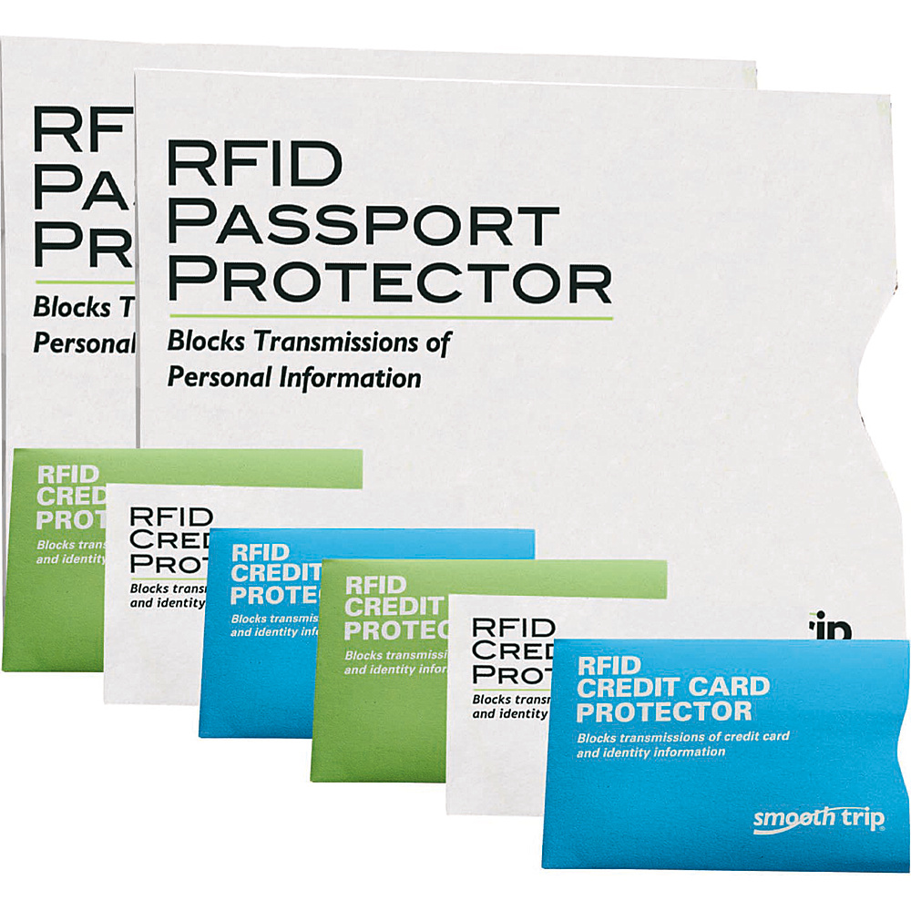 High Road RFID Passport and Credit Card Protectors - 8 pack White/White/Lime/Aqua - High Road Electronic Accessories
