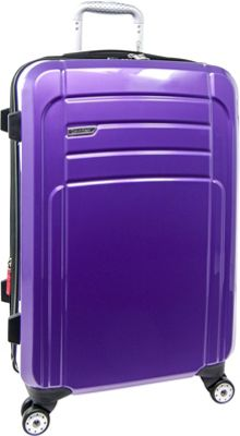Calvin Klein Luggage Rome 25 Upright Hardside Spinner Plum - Calvin Klein Luggage Hardside Checked