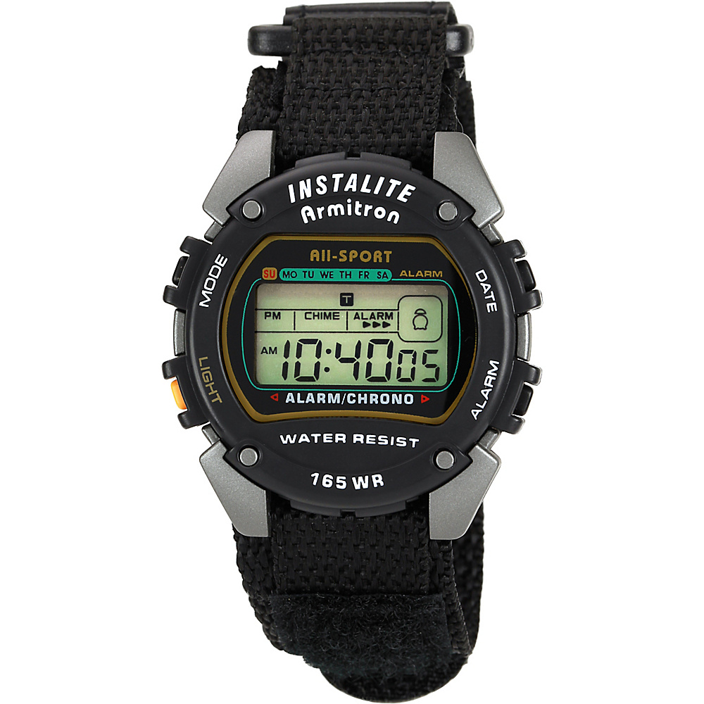 Armitron Sport Mens Chronograph Instalite Black Digital Watch Black - Armitron Watches