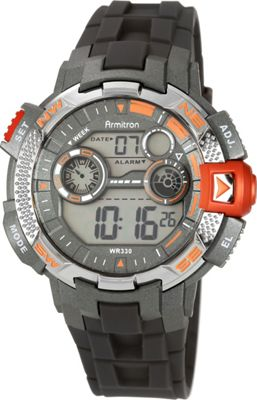 Armitron Mens Sport Metallic Accented Resin Strap Digital Chronograph Watch Orange - Armitron Watches