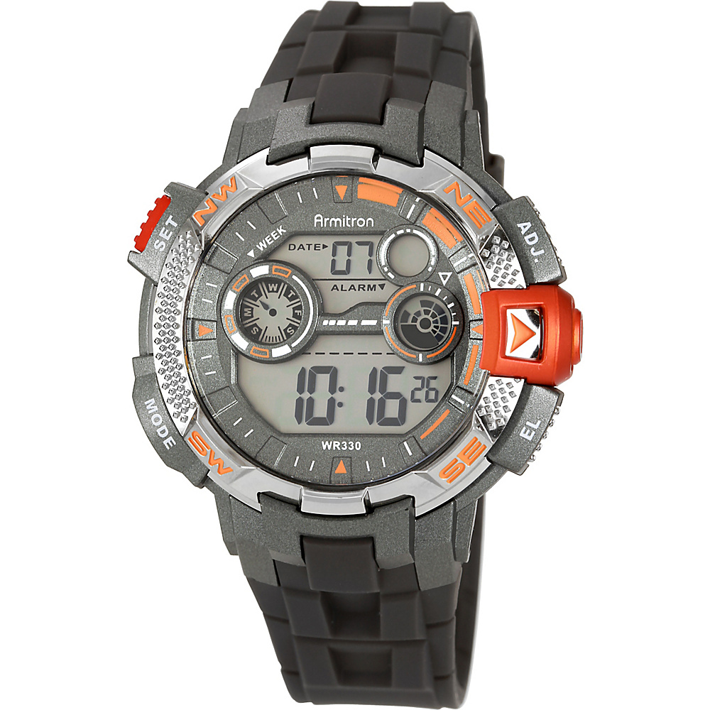 Armitron Mens Sport Metallic Accented Resin Strap Digital Chronograph Watch Orange Armitron Watches