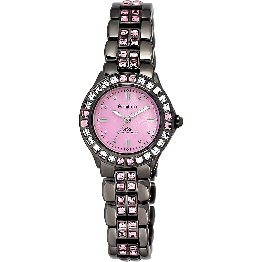 Armitron Womens Pink Swarovski Crystal Accented Gunmetal Bracelet Watch Gunmetal Armitron Watches