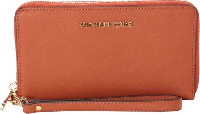 MICHAEL Michael Kors Jet Set Travel Large Flat Multifunction Phone Case Orange - MICHAEL Michael Kors Women's Wallets