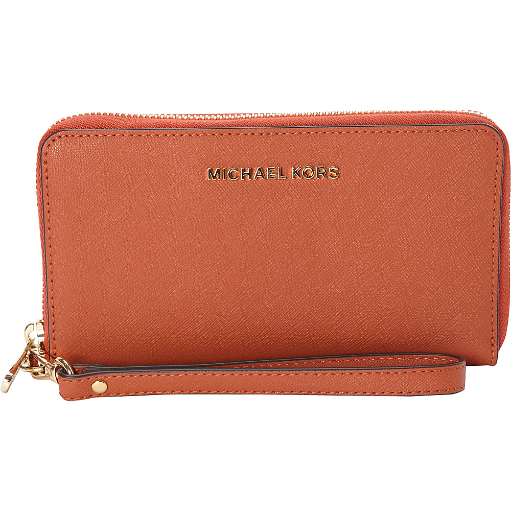 MICHAEL Michael Kors Jet Set Travel Large Flat Multifunction Phone Case Orange MICHAEL Michael Kors Women s Wallets