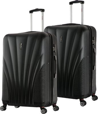 inUSA Chicago ML 2-Piece Lightweight Hardside Spinner Luggage Set Black - inUSA Luggage Sets