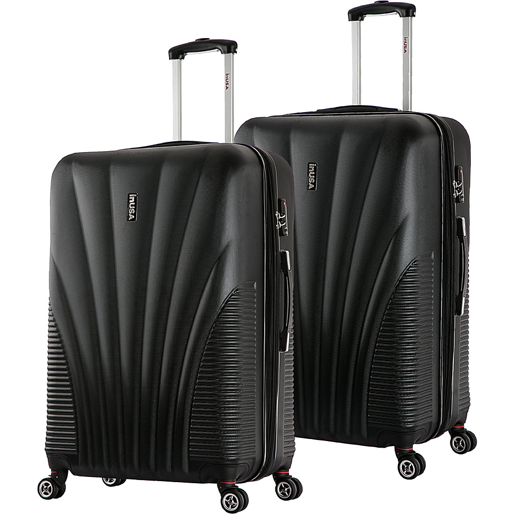 inUSA Chicago ML 2 Piece Lightweight Hardside Spinner Luggage Set Black inUSA Luggage Sets