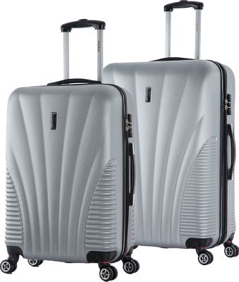 inUSA Chicago ML 2-Piece Lightweight Hardside Spinner Luggage Set Silver - inUSA Luggage Sets