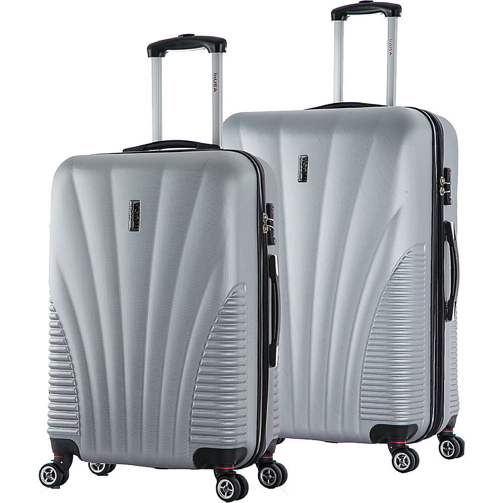 inUSA Chicago ML 2 Piece Lightweight Hardside Spinner Luggage Set Silver inUSA Luggage Sets
