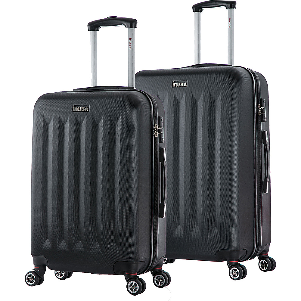 inUSA Philadelphia ML 2 Piece Lightweight Hardside Spinner Luggage Set Black inUSA Luggage Sets