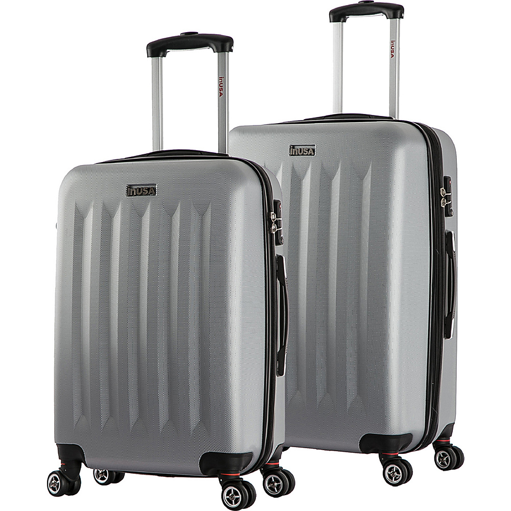 inUSA Philadelphia ML 2 Piece Lightweight Hardside Spinner Luggage Set Grey inUSA Luggage Sets