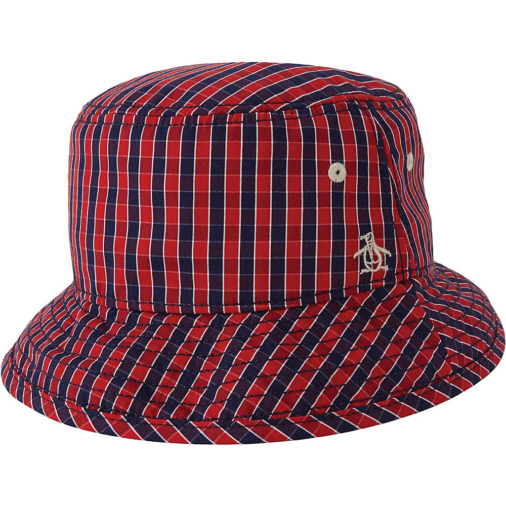 Original Penguin Mini Cheque Bucket Hat S/M - Umbrella Red - Original Penguin Hats/Gloves/Scarves