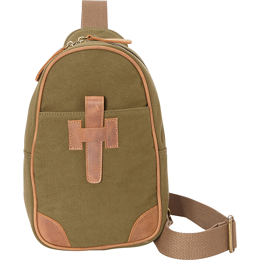 Vagabond Traveler Cotton Canvas Chest Pack Travel Bag Green - Vagabond Traveler Slings - Backpacks, Slings