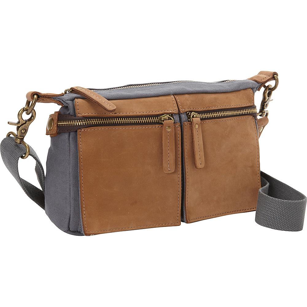 Vagabond Traveler Cotton Canvas Casual Style Messenger Bag Blue Grey - Vagabond Traveler Messenger Bags - Work Bags & Briefcases, Messenger Bags
