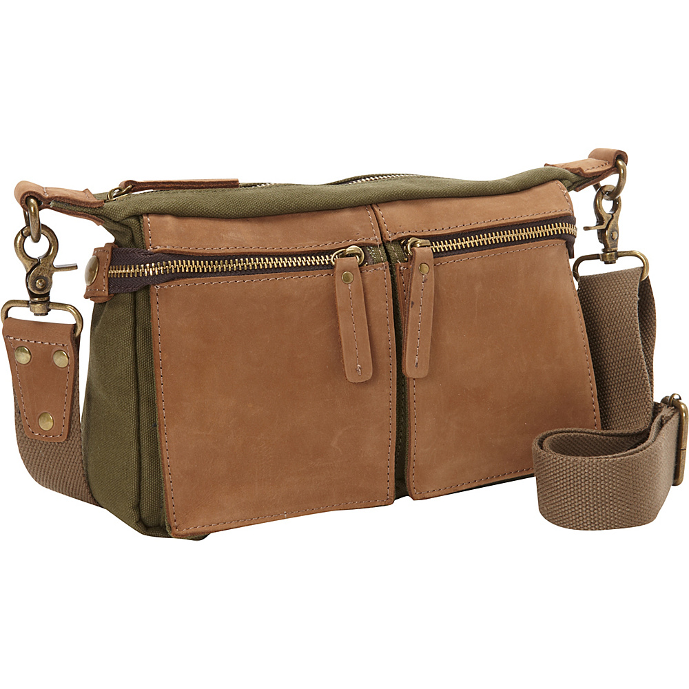 Vagabond Traveler Cotton Canvas Casual Style Messenger Bag Green - Vagabond Traveler Messenger Bags - Work Bags & Briefcases, Messenger Bags