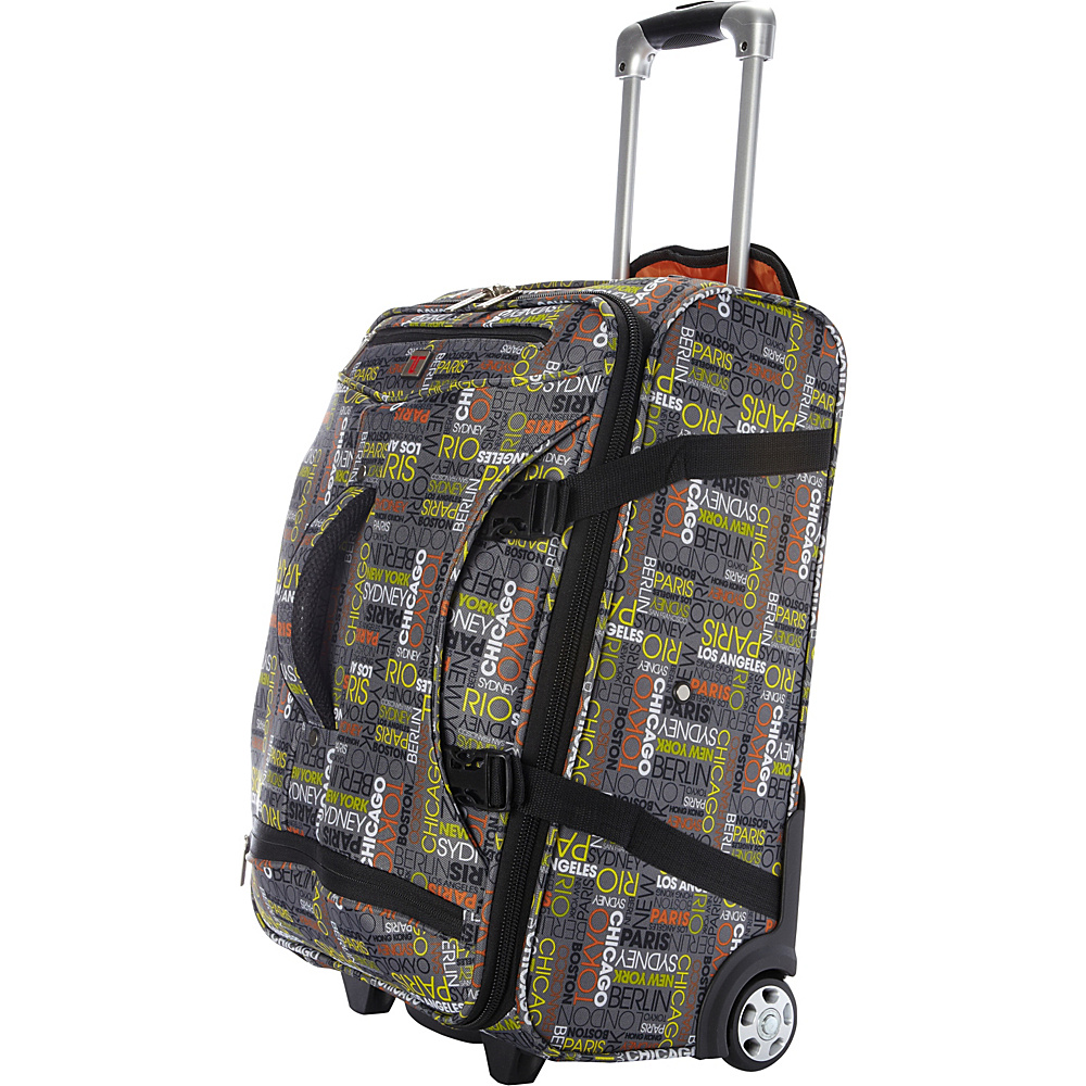 """Travelers Club Luggage Cityscape 20"""" Luggage/Duffel Hybrid Carry-On w/ Padded Tablet Compartment City Pattern - Travelers Club Luggage Rolling Duffels"""