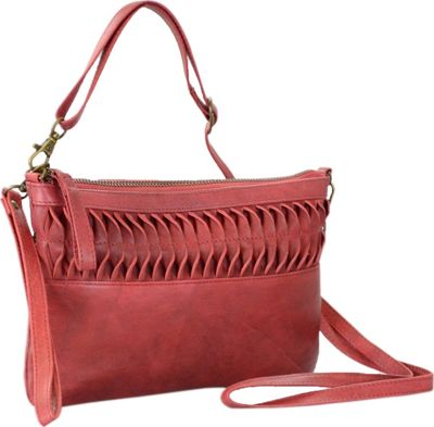 R & R Collections Genuine Leather Crossbody Bag With Cluth And Ruffle Detail Red - R & R Collections Leather Handbags